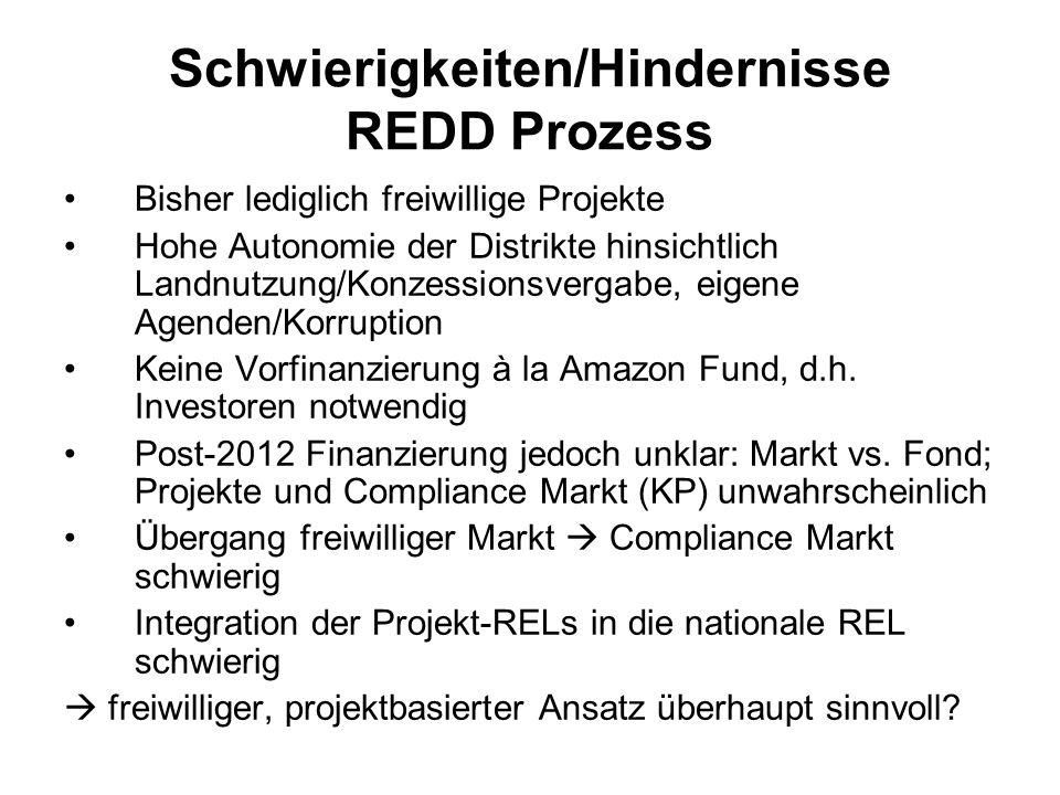 Schwierigkeiten/Hindernisse REDD Prozess Bisher lediglich freiwillige Projekte Hohe Autonomie der Distrikte hinsichtlich Landnutzung/Konzessionsvergab