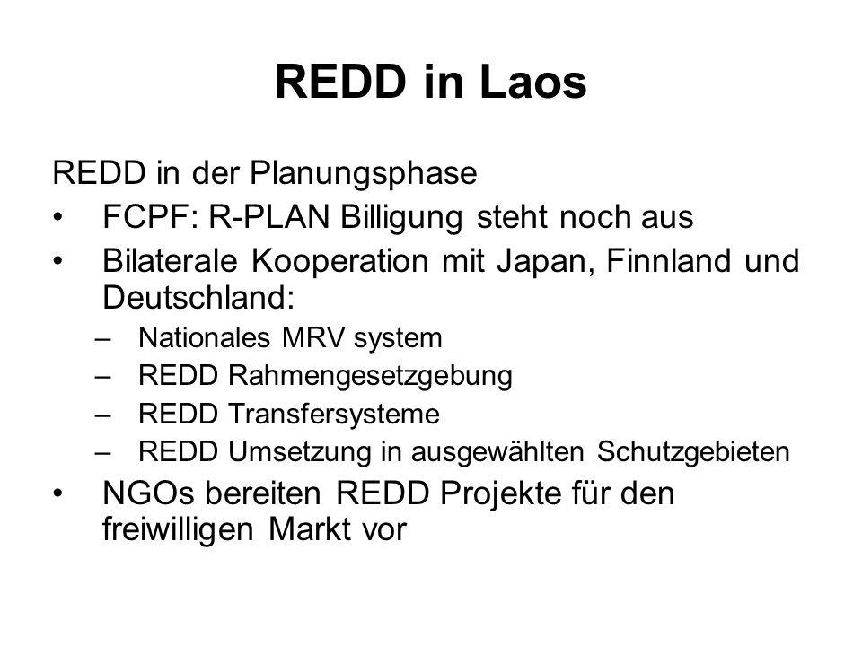 REDD in Laos REDD in der Planungsphase FCPF: R-PLAN Billigung steht noch aus Bilaterale Kooperation mit Japan, Finnland und Deutschland: –Nationales M