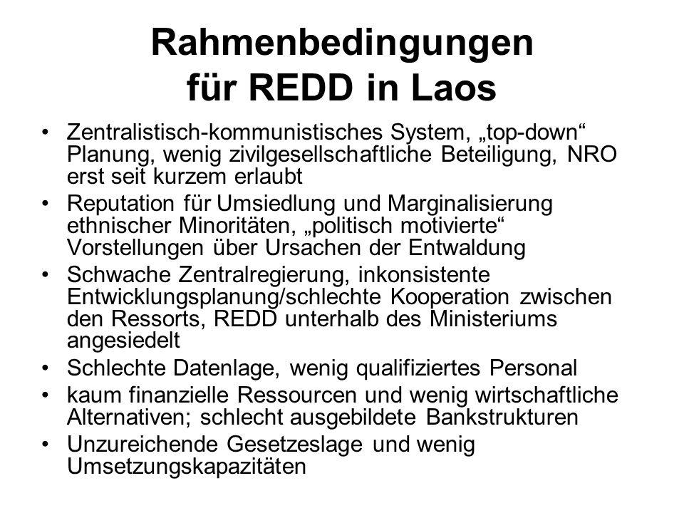 Rahmenbedingungen für REDD in Laos Zentralistisch-kommunistisches System, top-down Planung, wenig zivilgesellschaftliche Beteiligung, NRO erst seit ku