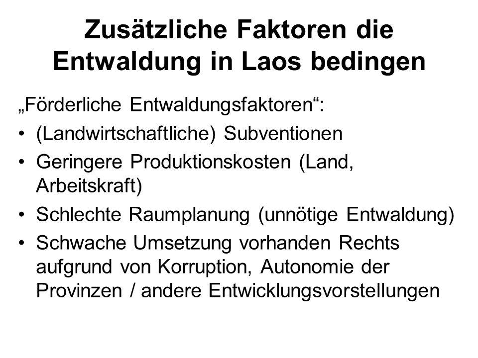 Zusätzliche Faktoren die Entwaldung in Laos bedingen Förderliche Entwaldungsfaktoren: (Landwirtschaftliche) Subventionen Geringere Produktionskosten (
