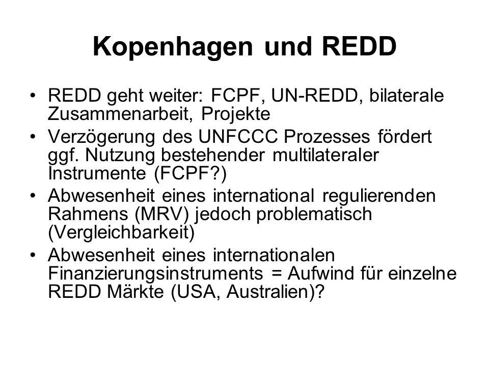 Kopenhagen und REDD REDD geht weiter: FCPF, UN-REDD, bilaterale Zusammenarbeit, Projekte Verzögerung des UNFCCC Prozesses fördert ggf. Nutzung bestehe