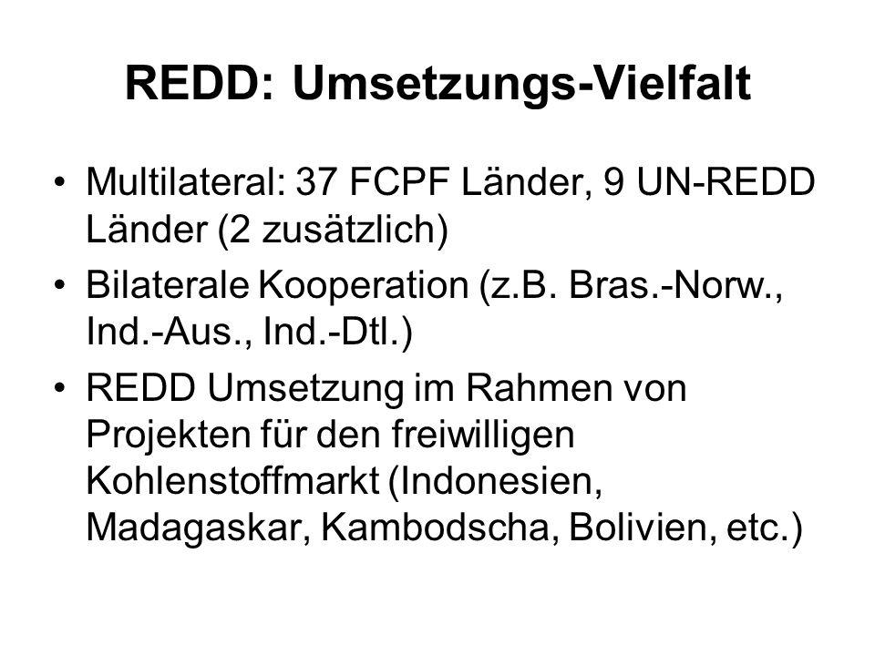 REDD: Umsetzungs-Vielfalt Multilateral: 37 FCPF Länder, 9 UN-REDD Länder (2 zusätzlich) Bilaterale Kooperation (z.B. Bras.-Norw., Ind.-Aus., Ind.-Dtl.