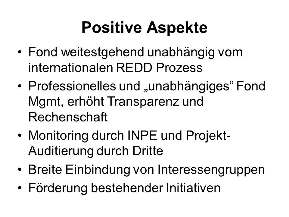 Positive Aspekte Fond weitestgehend unabhängig vom internationalen REDD Prozess Professionelles und unabhängiges Fond Mgmt, erhöht Transparenz und Rec