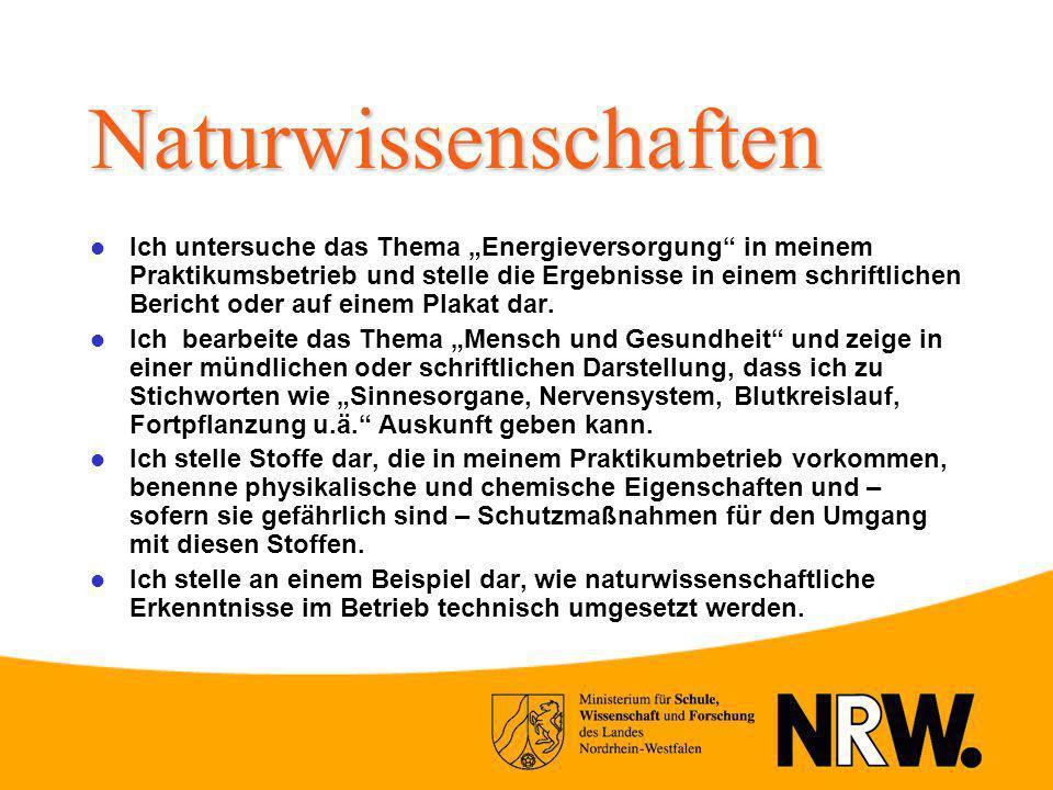 Naturwissenschaften Ich untersuche das Thema Energieversorgung in meinem Praktikumsbetrieb und stelle die Ergebnisse in einem schriftlichen Bericht od