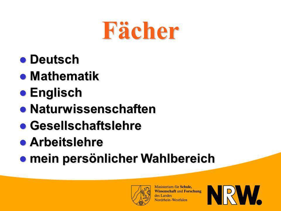 Fächer Deutsch Deutsch Mathematik Mathematik Englisch Englisch Naturwissenschaften Naturwissenschaften Gesellschaftslehre Gesellschaftslehre Arbeitsle