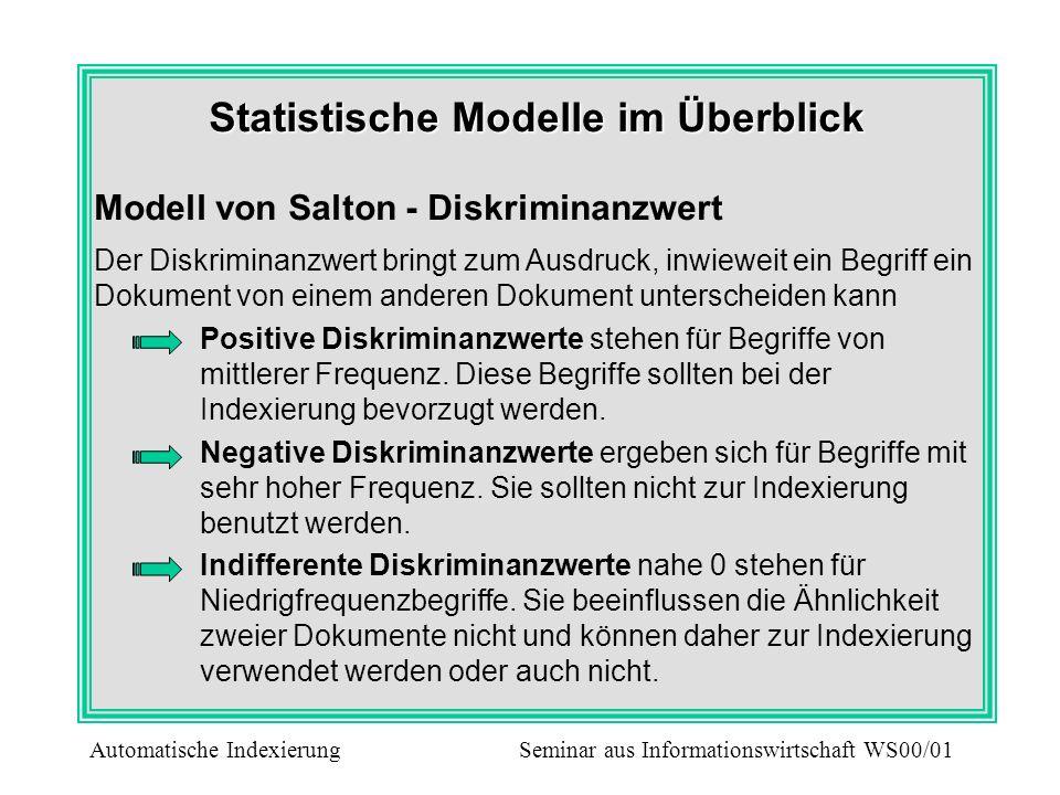 Statistische Modelle im Überblick Modell von Salton - Diskriminanzwert Der Diskriminanzwert bringt zum Ausdruck, inwieweit ein Begriff ein Dokument vo
