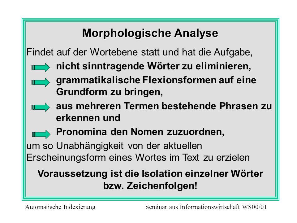 Morphologische Analyse Findet auf der Wortebene statt und hat die Aufgabe, nicht sinntragende Wörter zu eliminieren, grammatikalische Flexionsformen a