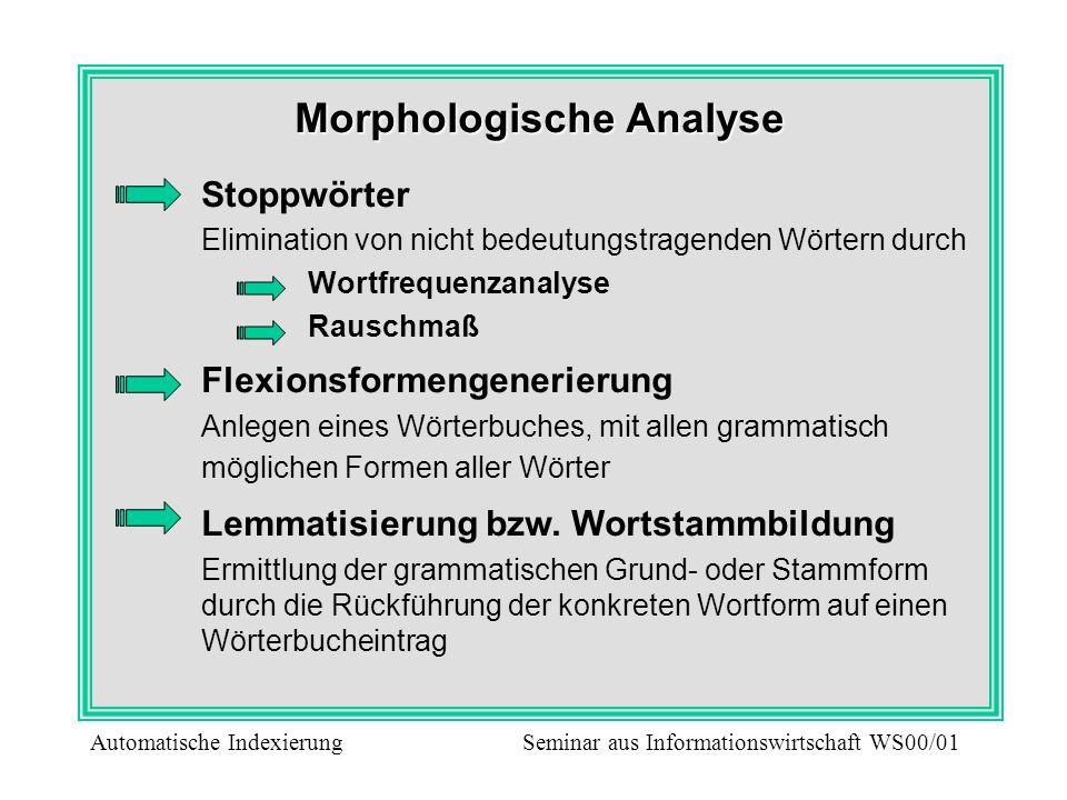 Morphologische Analyse Stoppwörter Elimination von nicht bedeutungstragenden Wörtern durch Wortfrequenzanalyse Rauschmaß Flexionsformengenerierung Anl