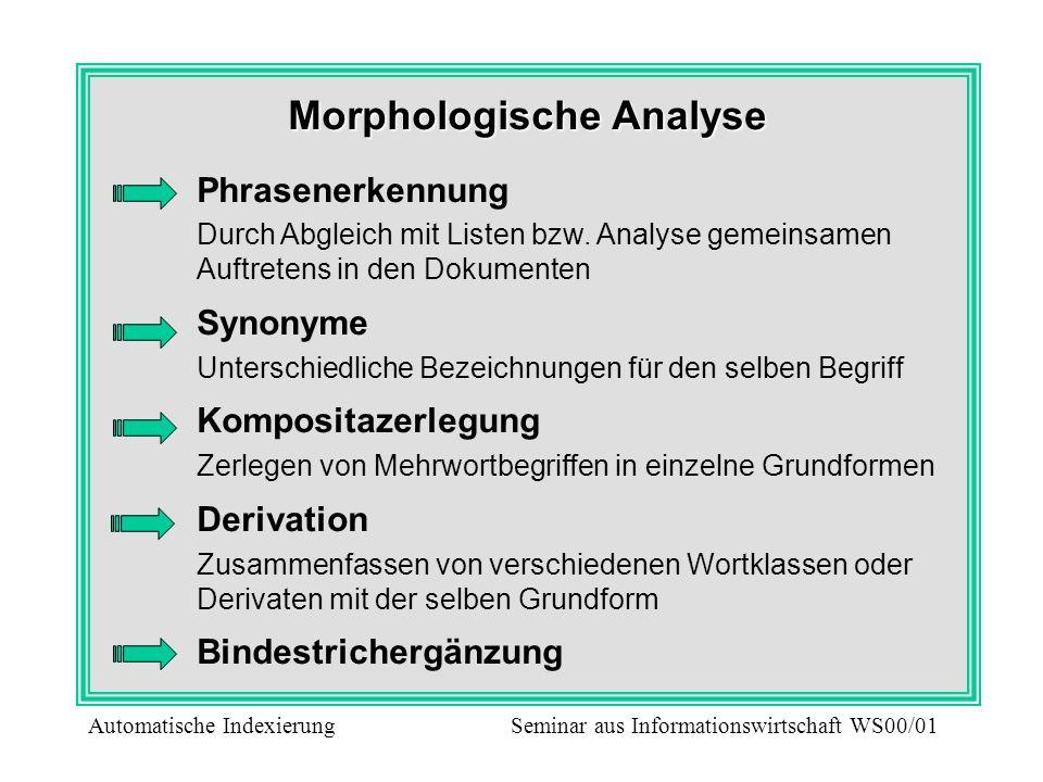 Morphologische Analyse Phrasenerkennung Durch Abgleich mit Listen bzw. Analyse gemeinsamen Auftretens in den Dokumenten Synonyme Unterschiedliche Beze