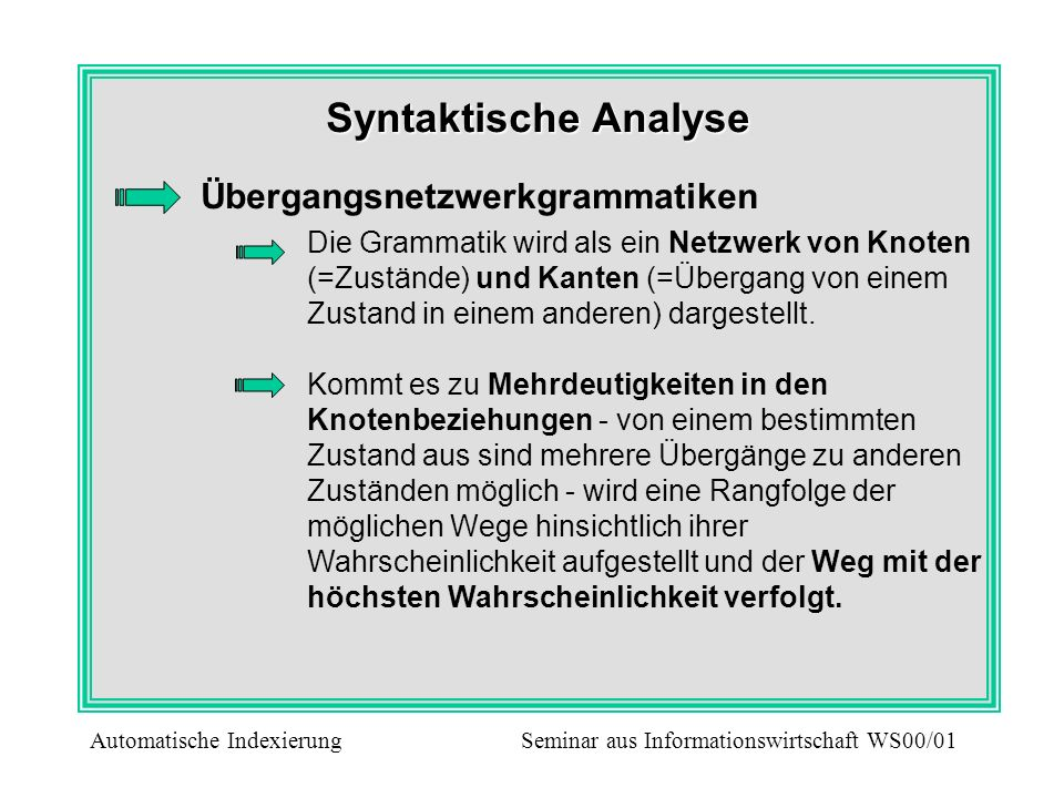 Syntaktische Analyse Übergangsnetzwerkgrammatiken Die Grammatik wird als ein Netzwerk von Knoten (=Zustände) und Kanten (=Übergang von einem Zustand i