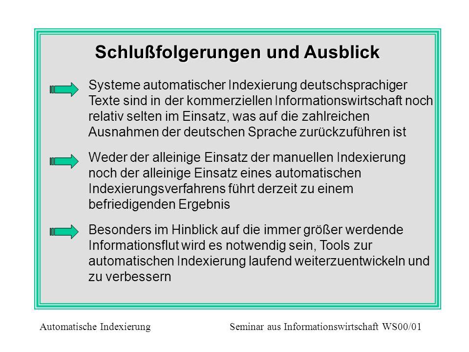 Schlußfolgerungen und Ausblick Systeme automatischer Indexierung deutschsprachiger Texte sind in der kommerziellen Informationswirtschaft noch relativ