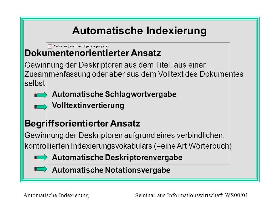 Automatische Indexierung Dokumentenorientierter Ansatz Gewinnung der Deskriptoren aus dem Titel, aus einer Zusammenfassung oder aber aus dem Volltext
