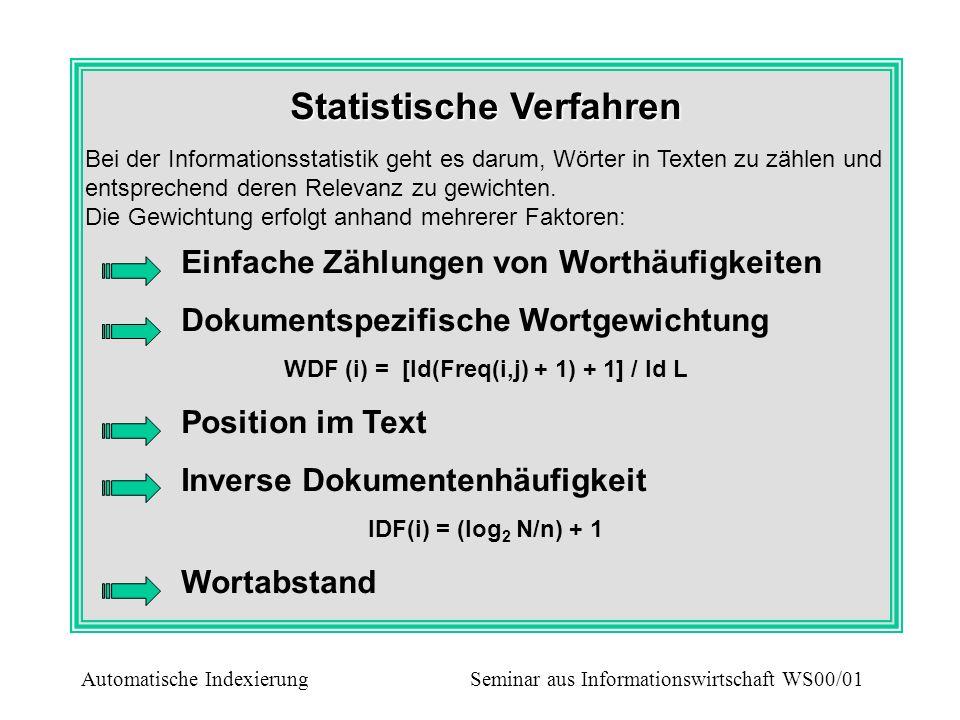 Statistische Modelle im Überblick Modell von Luhn - Ermittlung von Worthäufigkeiten Ermittlung der absoluten Häufigkeit jedes einzelnen Begriffes für jedes Dokument Ermittlung der Häufigkeit eines Begriffes in der gesamten Dokumentensammlung Eliminierung aller Begriffe, die öfters als der obere Schwellenwert und seltener als der untere Schwellenwert vorkommen Automatische Indexierung Seminar aus Informationswirtschaft WS00/01