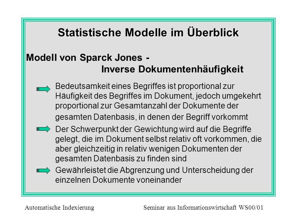 Statistische Modelle im Überblick Modell von Sparck Jones - Inverse Dokumentenhäufigkeit Bedeutsamkeit eines Begriffes ist proportional zur Häufigkeit