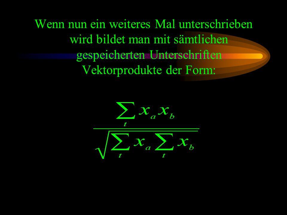 Durch die Normierung ergibt das Skalarprodukt je einen x und einen y Wert zwischen -1 und 1.
