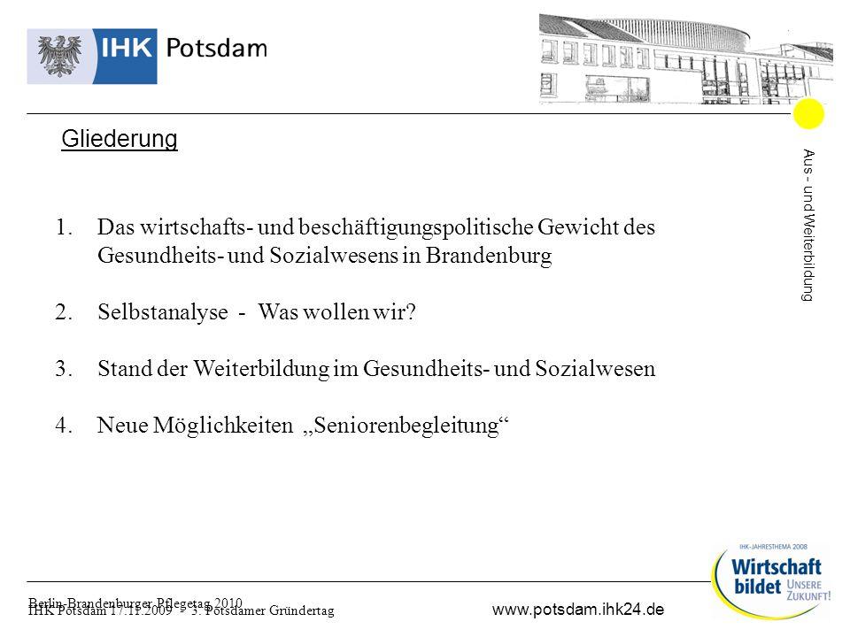 Aus - und Weiterbildung www.potsdam.ihk24.de Berlin-Brandenburger Pflegetag 2010 Gliederung 1.Das wirtschafts- und beschäftigungspolitische Gewicht des Gesundheits- und Sozialwesens in Brandenburg 2.Selbstanalyse - Was wollen wir.