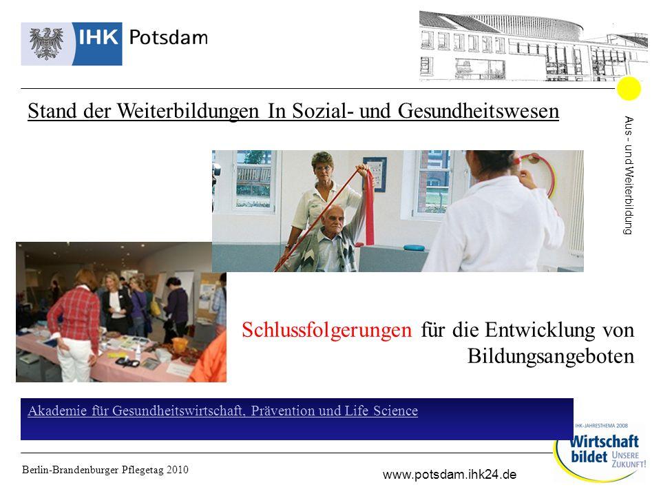 Aus - und Weiterbildung www.potsdam.ihk24.de Berlin-Brandenburger Pflegetag 2010 Stand der Weiterbildungen In Sozial- und Gesundheitswesen Schlussfolgerungen für die Entwicklung von Bildungsangeboten Akademie für Gesundheitswirtschaft, Prävention und Life Science