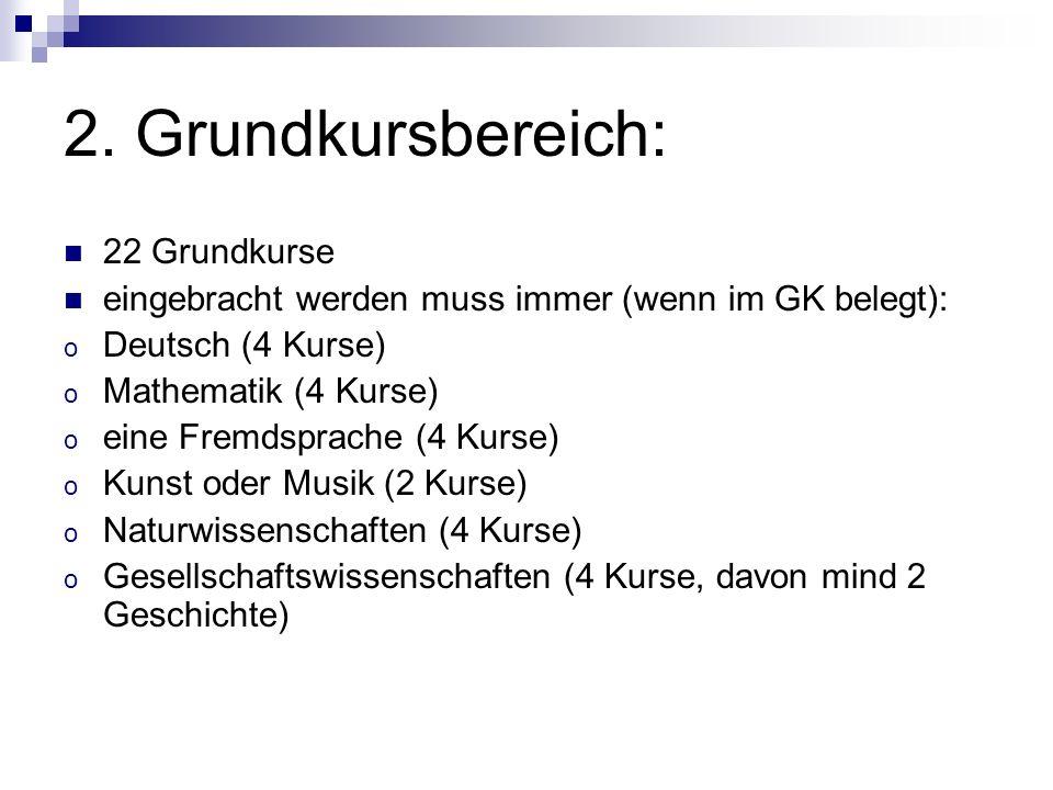 2. Grundkursbereich: 22 Grundkurse eingebracht werden muss immer (wenn im GK belegt): o Deutsch (4 Kurse) o Mathematik (4 Kurse) o eine Fremdsprache (