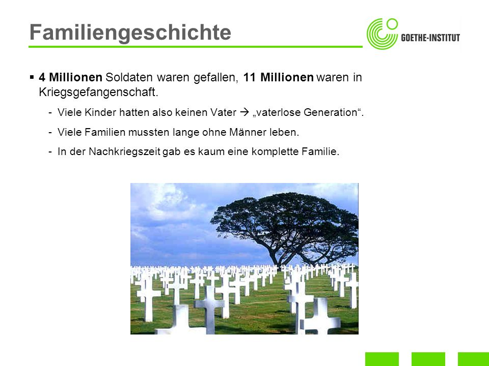 4 Millionen Soldaten waren gefallen, 11 Millionen waren in Kriegsgefangenschaft. -Viele Kinder hatten also keinen Vater vaterlose Generation. -Viele F