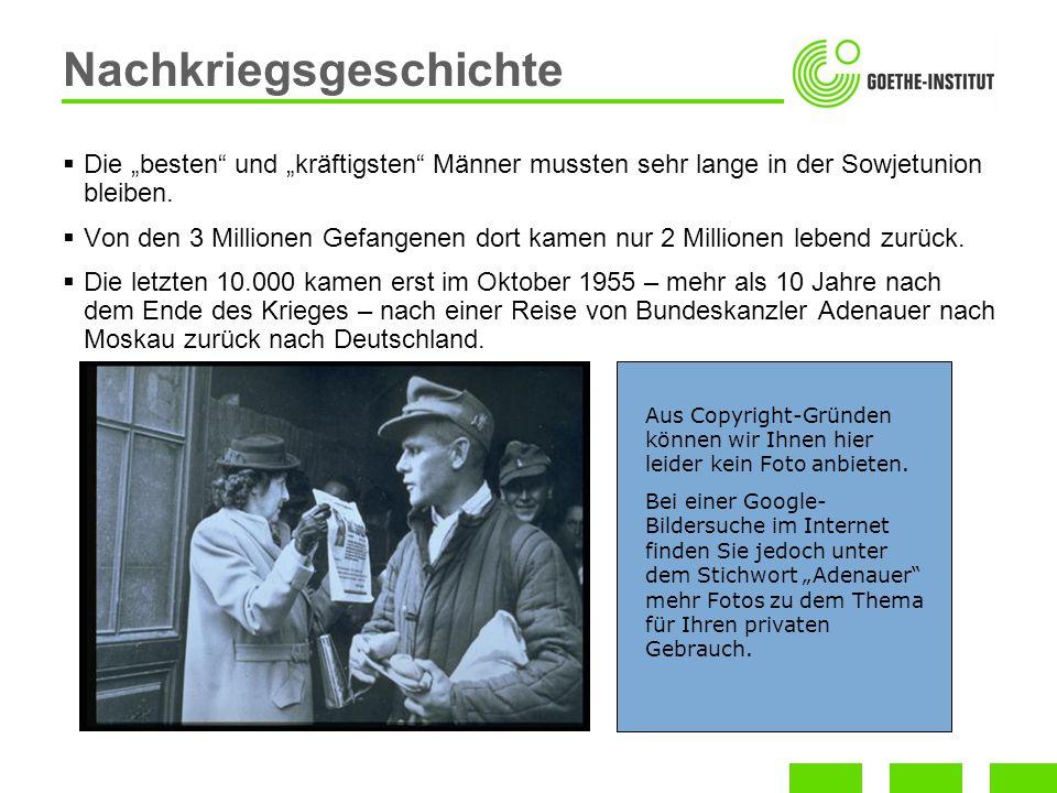 1947: Marshallplan -Die Westzonen bekamen $ 1,4 Milliarden Hilfe aus den USA.