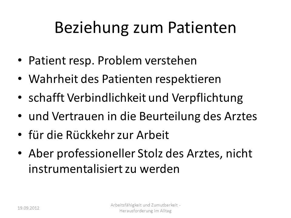 Beziehung zum Patienten Patient resp. Problem verstehen Wahrheit des Patienten respektieren schafft Verbindlichkeit und Verpflichtung und Vertrauen in