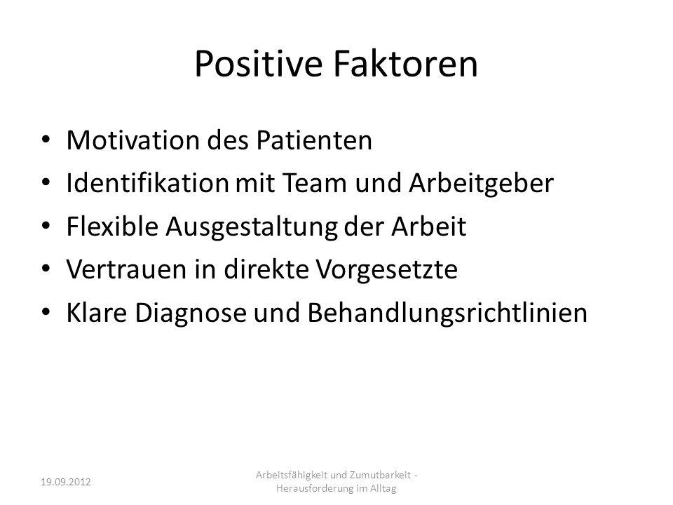 Positive Faktoren Motivation des Patienten Identifikation mit Team und Arbeitgeber Flexible Ausgestaltung der Arbeit Vertrauen in direkte Vorgesetzte