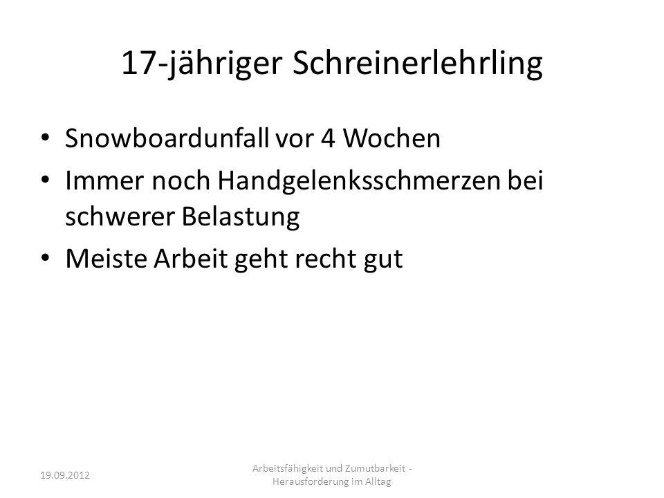 Arbeitsfähigkeit und Zumutbarkeit - Herausforderung im Alltag 19.09.2012