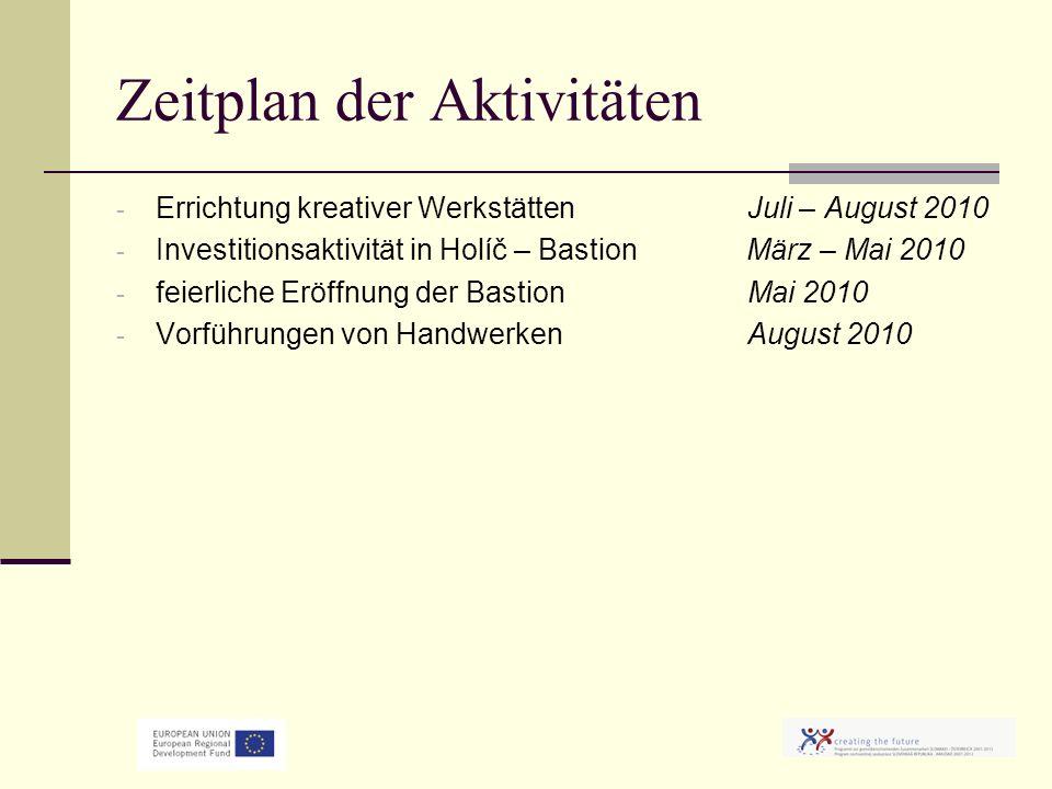 Zeitplan der Aktivitäten - Errichtung kreativer WerkstättenJuli – August 2010 - Investitionsaktivität in Holíč – Bastion März – Mai 2010 - feierliche Eröffnung der Bastion Mai 2010 - Vorführungen von HandwerkenAugust 2010