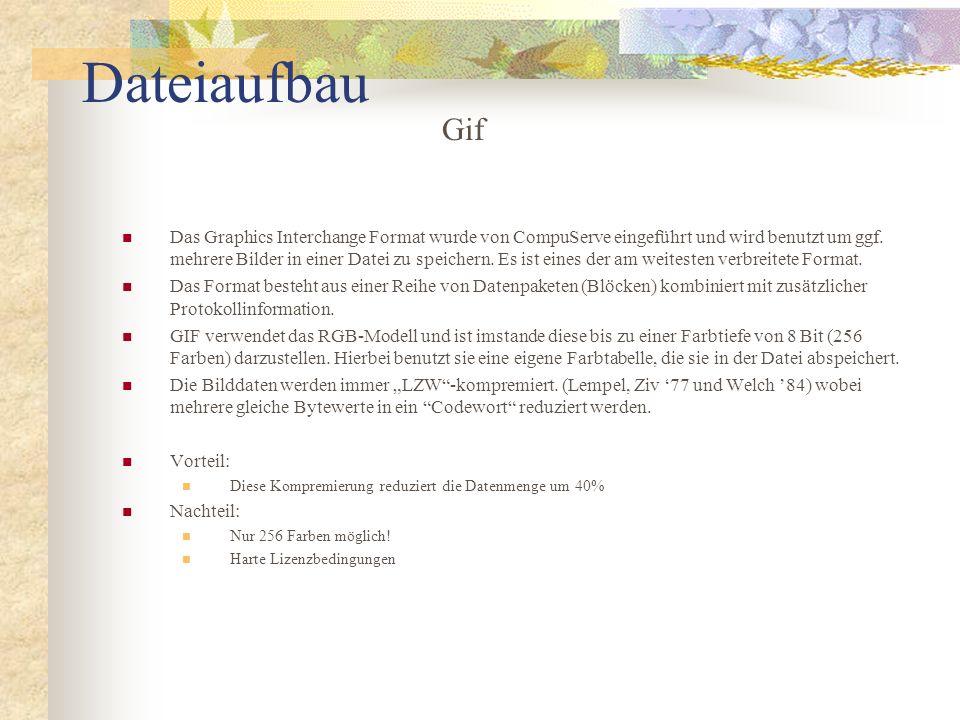 Dateiaufbau Das Graphics Interchange Format wurde von CompuServe eingeführt und wird benutzt um ggf. mehrere Bilder in einer Datei zu speichern. Es is