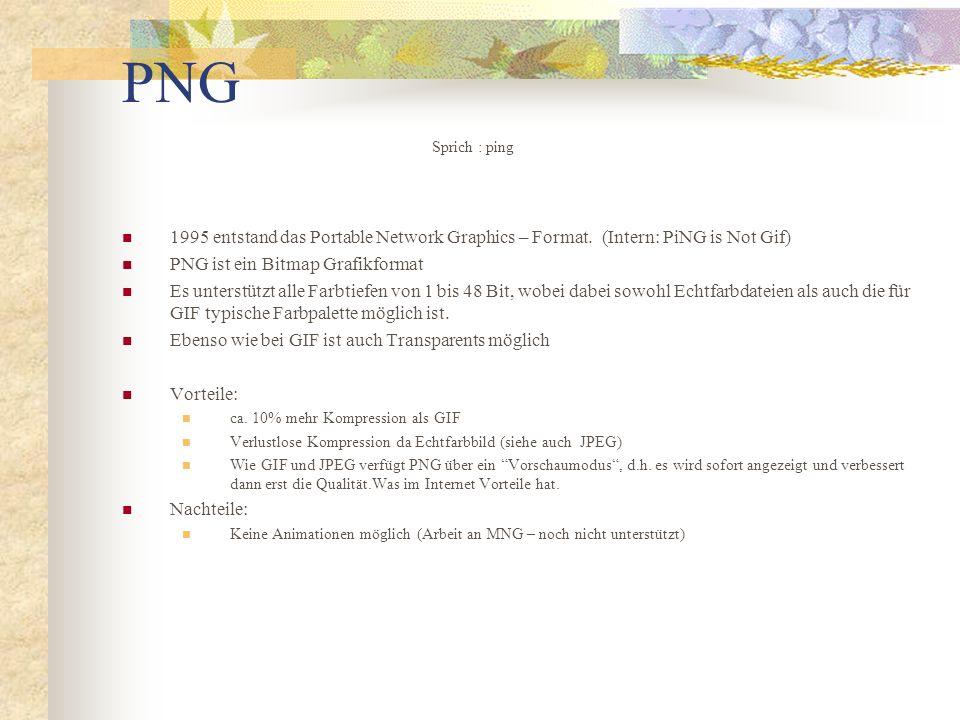 PNG 1995 entstand das Portable Network Graphics – Format.(Intern: PiNG is Not Gif) PNG ist ein Bitmap Grafikformat Es unterstützt alle Farbtiefen von