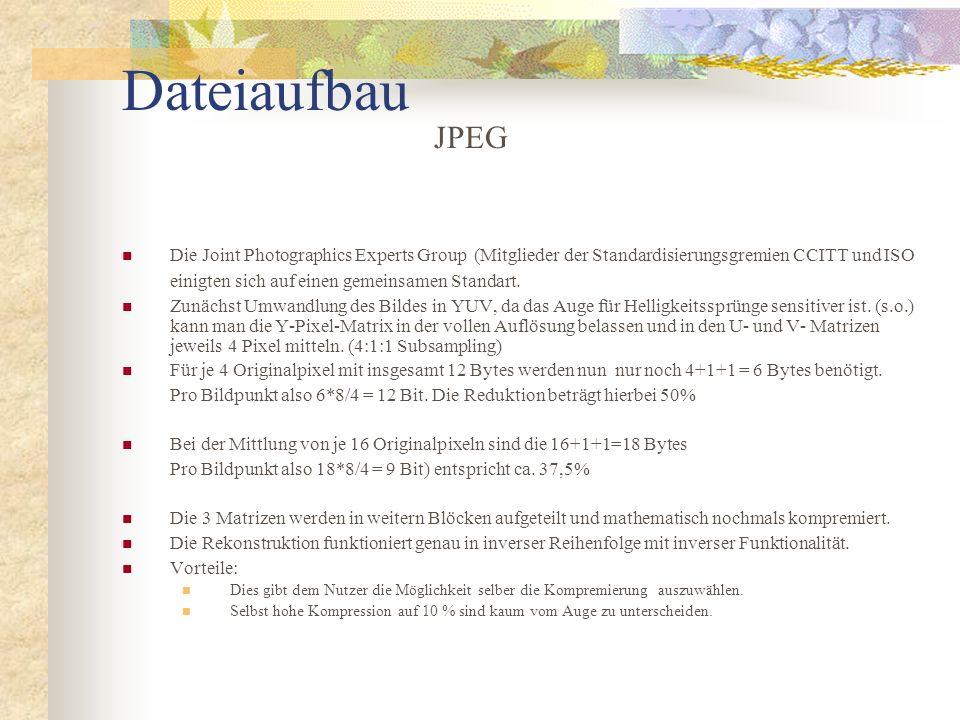 Dateiaufbau Die Joint Photographics Experts Group (Mitglieder der Standardisierungsgremien CCITT und ISO einigten sich auf einen gemeinsamen Standart.