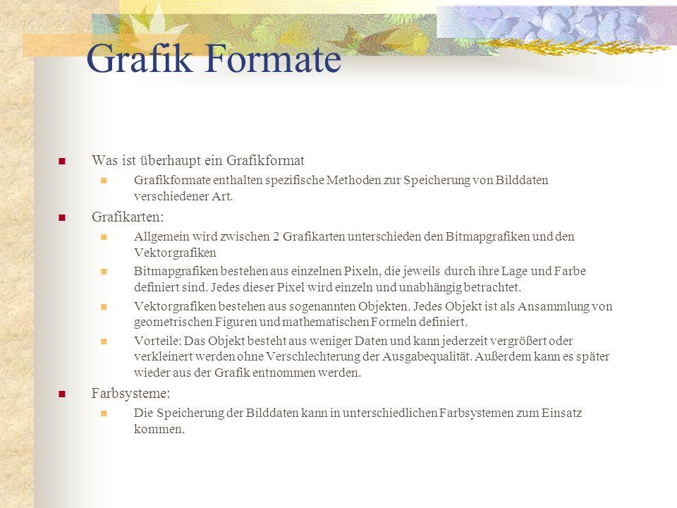 Grafik Formate Was ist überhaupt ein Grafikformat Grafikformate enthalten spezifische Methoden zur Speicherung von Bilddaten verschiedener Art. Grafik