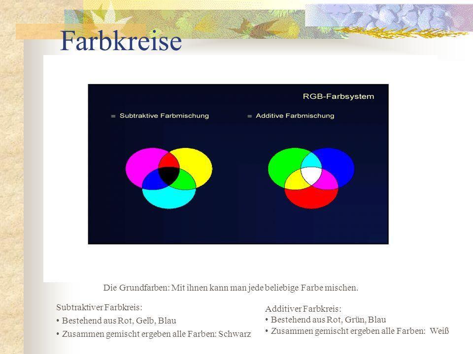 Farbkreise Additiver Farbkreis: Bestehend aus Rot, Grün, Blau Zusammen gemischt ergeben alle Farben: Weiß Subtraktiver Farbkreis: Bestehend aus Rot, G