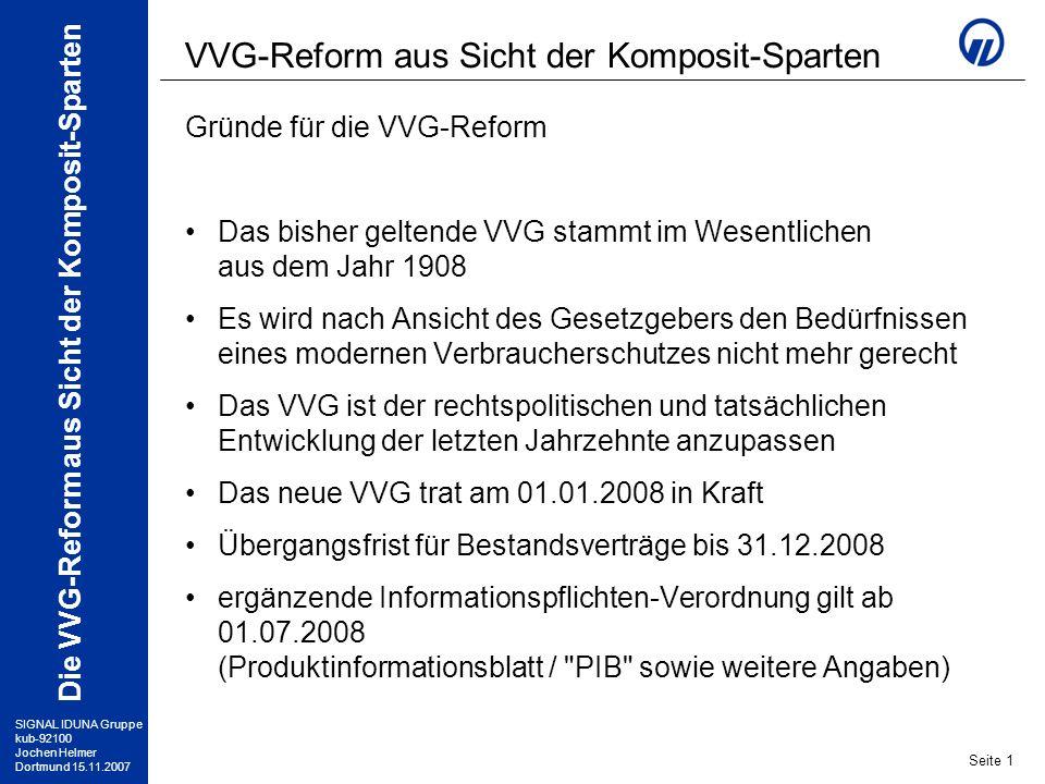 SIGNAL IDUNA Gruppe kub-92100 Jochen Helmer Dortmund 15.11.2007 Die VVG-Reform aus Sicht der Komposit-Sparten Seite 2 VVG 2008 Änderung des Abschlussverfahrens Bisher galt das sogenannte Policenmodell : –VN stellt Antrag –VU übergibt die ausführlichen Verbraucherinformationen (AVB usw.) nachträglich mit dem Versicherungsschein –VN hat nach Erhalt 14 Tage Widerspruchsrecht Künftig müssen dem VN alle Verbraucherinformationen rechtzeitig vor Abgabe seiner Vertragserklärung (Antrag) übergeben werden