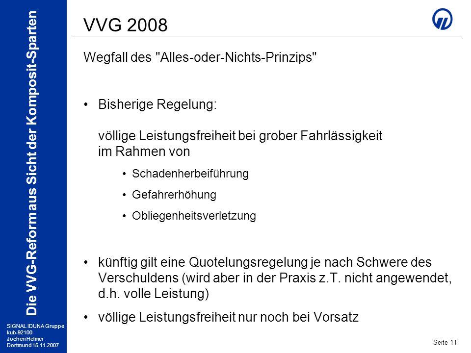 SIGNAL IDUNA Gruppe kub-92100 Jochen Helmer Dortmund 15.11.2007 Die VVG-Reform aus Sicht der Komposit-Sparten Seite 11 VVG 2008 Wegfall des