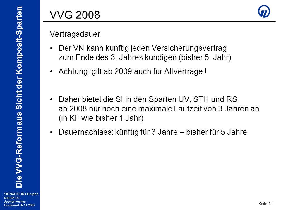 SIGNAL IDUNA Gruppe kub-92100 Jochen Helmer Dortmund 15.11.2007 Die VVG-Reform aus Sicht der Komposit-Sparten Seite 12 VVG 2008 Vertragsdauer Der VN k