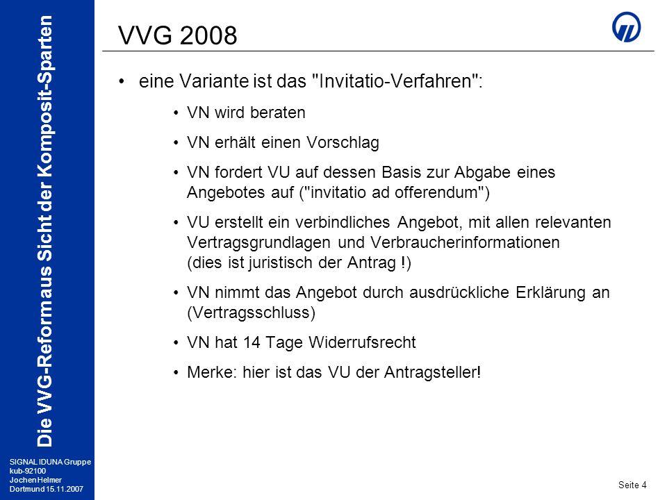 SIGNAL IDUNA Gruppe kub-92100 Jochen Helmer Dortmund 15.11.2007 Die VVG-Reform aus Sicht der Komposit-Sparten Seite 5 VVG 2008 Künftig müssen alle Verbraucherinformationen rechtzeitig vor Antragsunterschrift übergeben werden Der Umfang der vorgeschriebenen Verbraucherinformationen wurde außerdem erweitert: AVB, Tarifbestimmungen, Datenschutz-Merkblatt (wie bisher) nach der VVG-Informationspflichtenverordnung (VVG-InfoV) muss ein Produktinformationsblatt (PIB, § 4) sowie eine Aufstellung weiterer Angaben (§§ 1-3, je nach Sparte) erstellt werden Das PIB wird allen anderen Unterlagen vorangestellt und umschreibt die wesentlichen Merkmale des Produktes einschließlich des individuellen Beitrages die Informationspflichtenverordnung gilt ab 01.07.2008