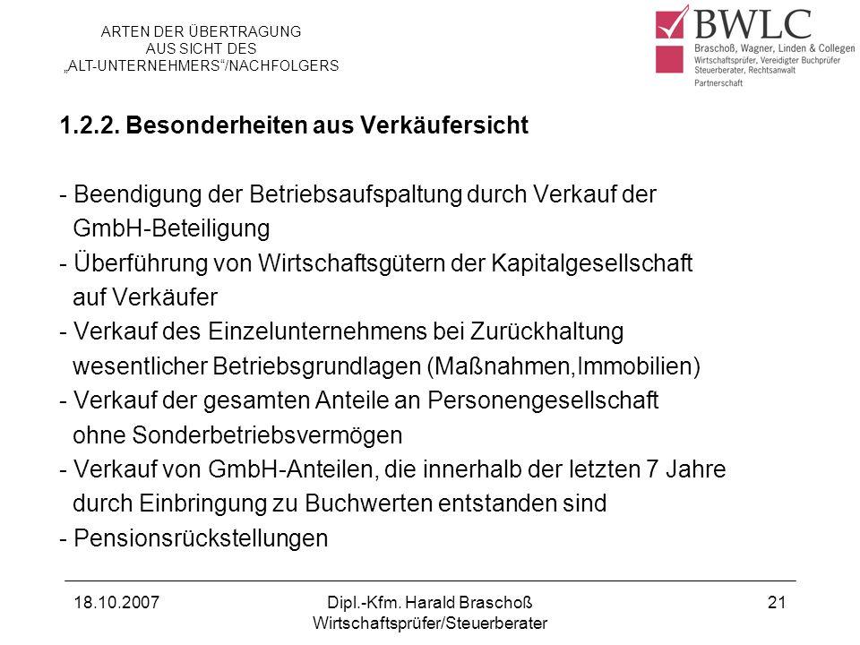 18.10.2007Dipl.-Kfm. Harald Braschoß Wirtschaftsprüfer/Steuerberater 21 1.2.2. Besonderheiten aus Verkäufersicht - Beendigung der Betriebsaufspaltung