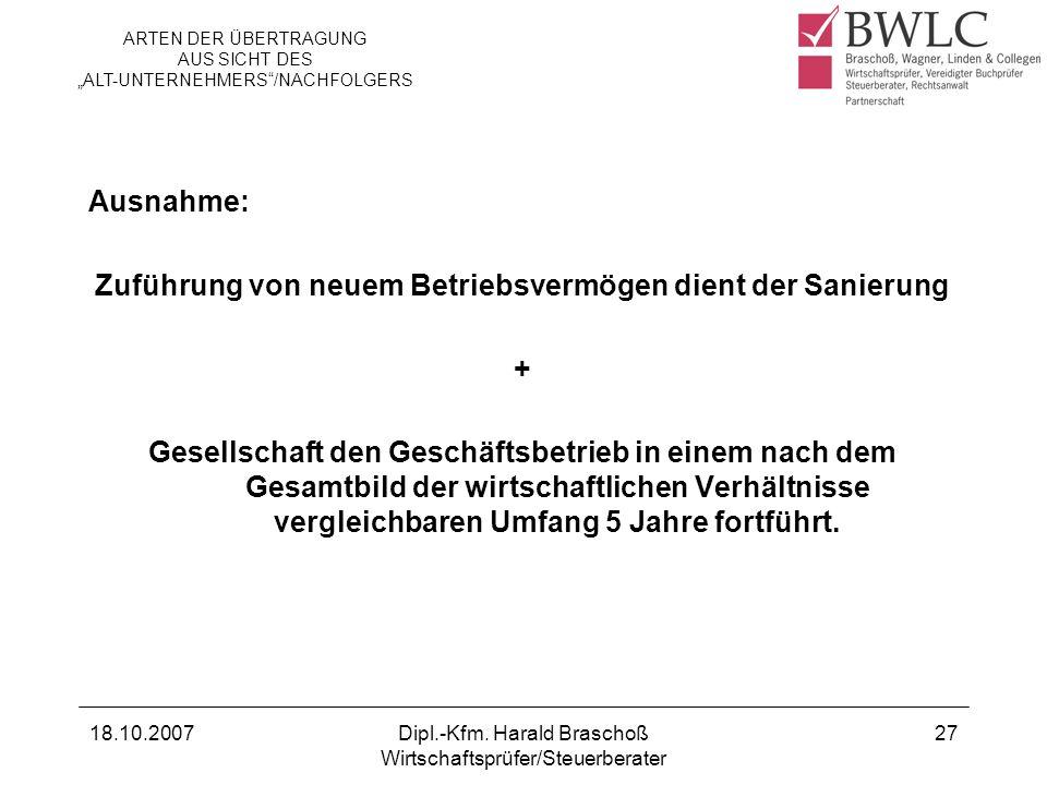 18.10.2007Dipl.-Kfm. Harald Braschoß Wirtschaftsprüfer/Steuerberater 27 Ausnahme: Zuführung von neuem Betriebsvermögen dient der Sanierung + Gesellsch