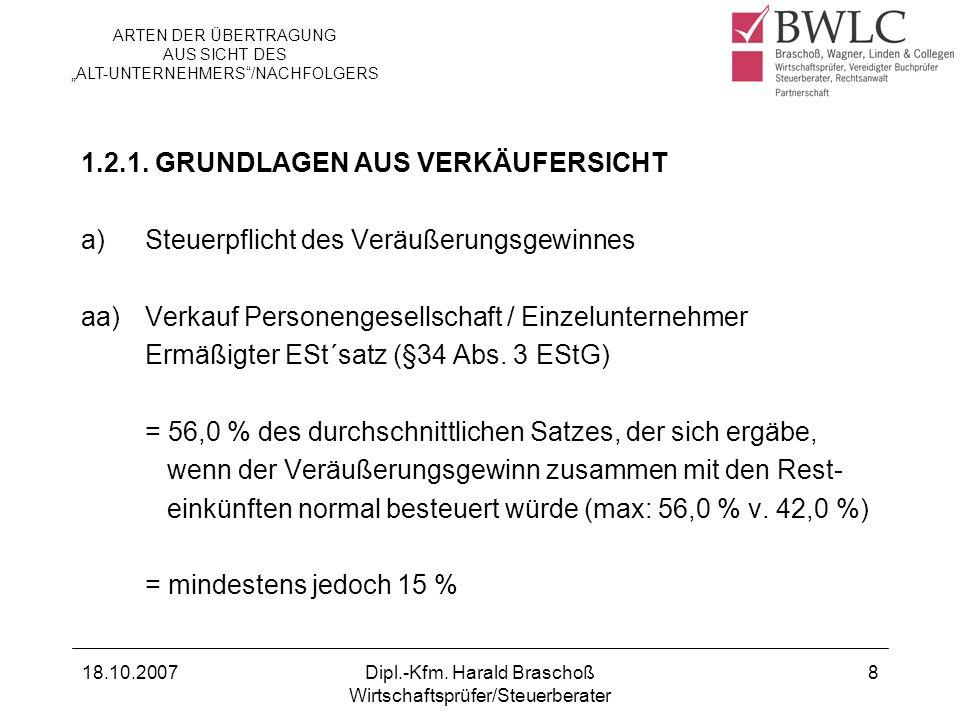 18.10.2007Dipl.-Kfm. Harald Braschoß Wirtschaftsprüfer/Steuerberater 8 1.2.1. GRUNDLAGEN AUS VERKÄUFERSICHT a)Steuerpflicht des Veräußerungsgewinnes a