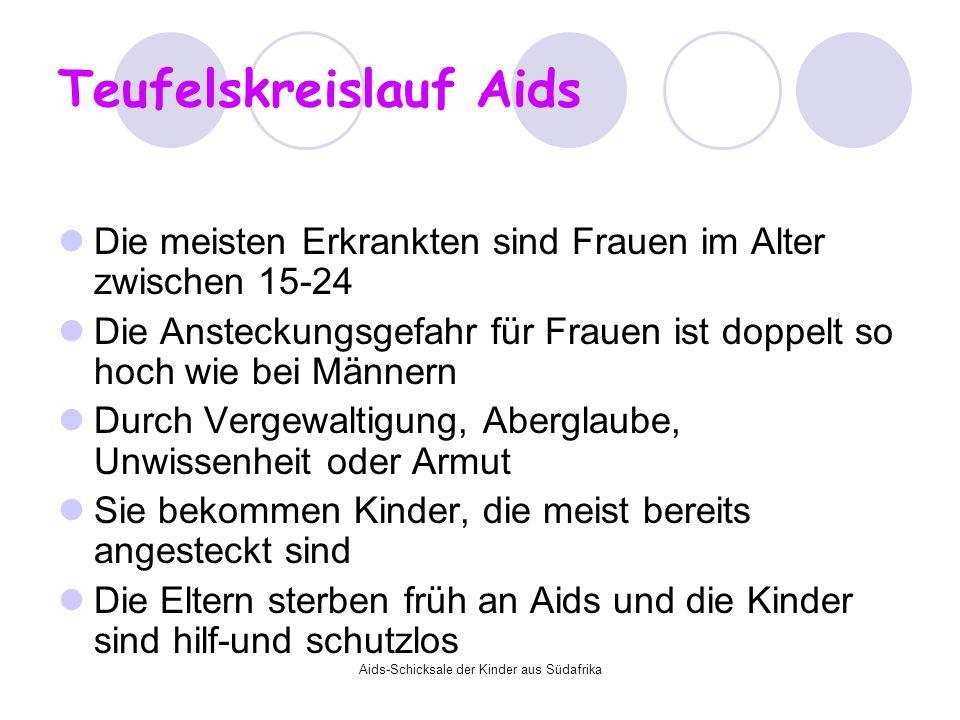 Aids-Schicksale der Kinder aus Südafrika Teufelskreislauf Aids Die meisten Erkrankten sind Frauen im Alter zwischen 15-24 Die Ansteckungsgefahr für Fr