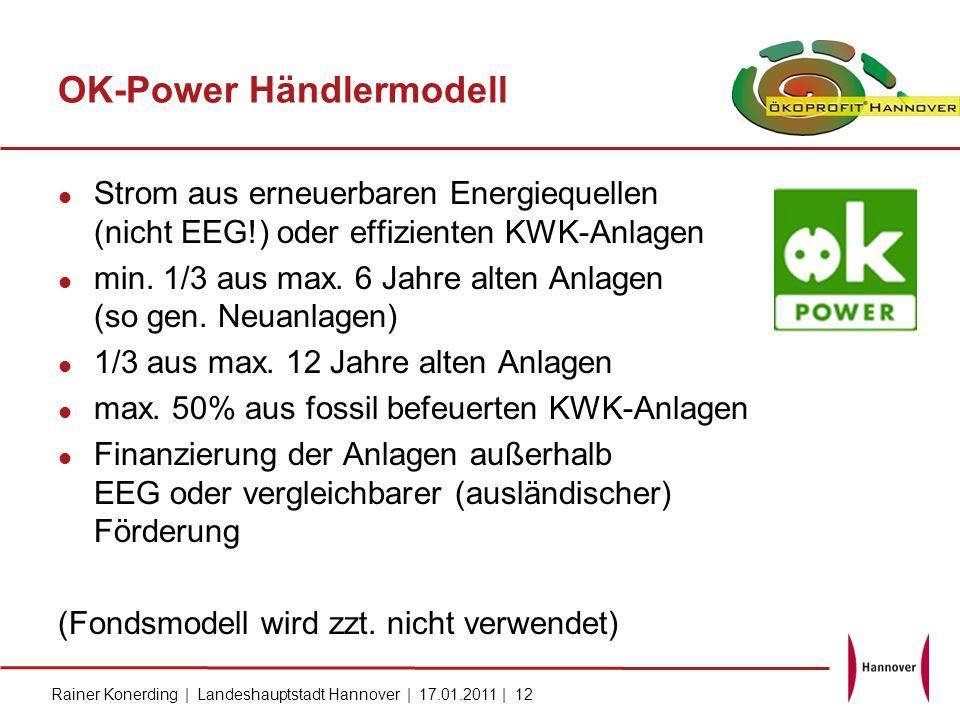 Rainer Konerding | Landeshauptstadt Hannover | 17.01.2011 | 12 OK-Power Händlermodell Strom aus erneuerbaren Energiequellen (nicht EEG!) oder effizien