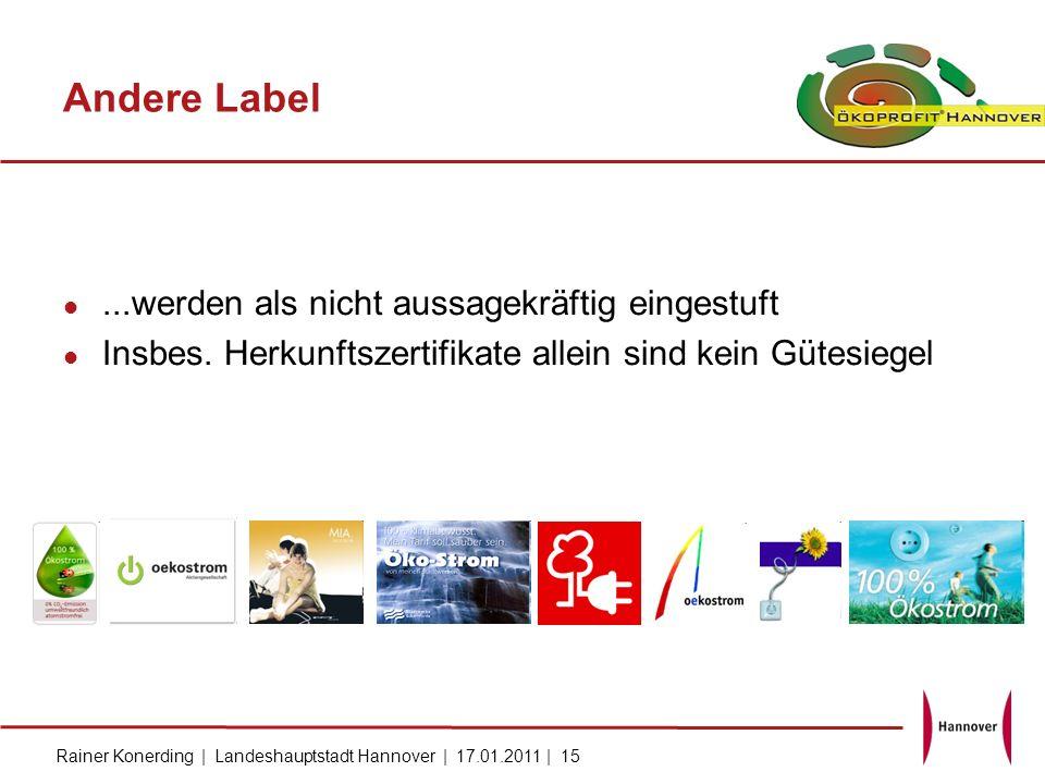 Rainer Konerding | Landeshauptstadt Hannover | 17.01.2011 | 15 Andere Label...werden als nicht aussagekräftig eingestuft Insbes. Herkunftszertifikate