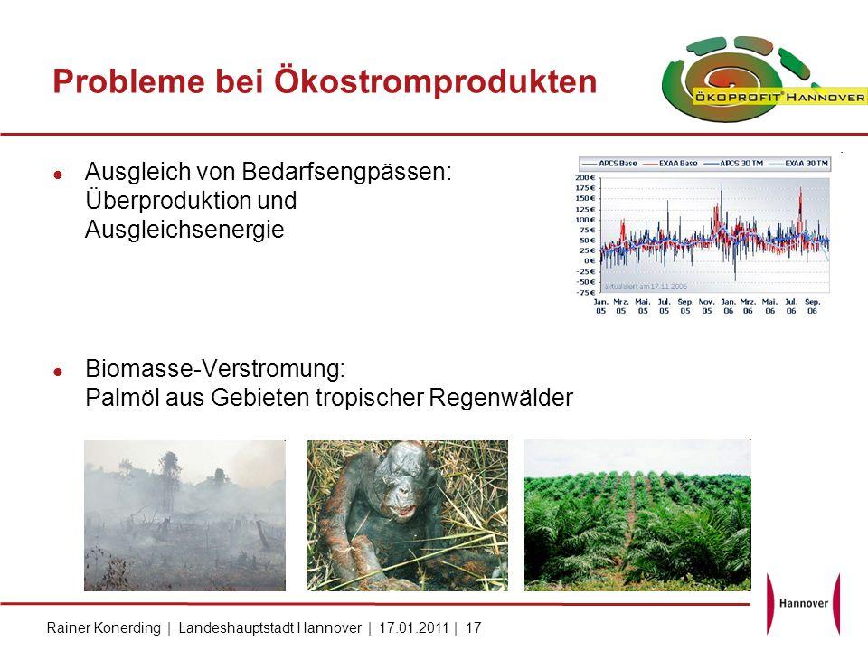 Rainer Konerding | Landeshauptstadt Hannover | 17.01.2011 | 17 Probleme bei Ökostromprodukten Ausgleich von Bedarfsengpässen: Überproduktion und Ausgl