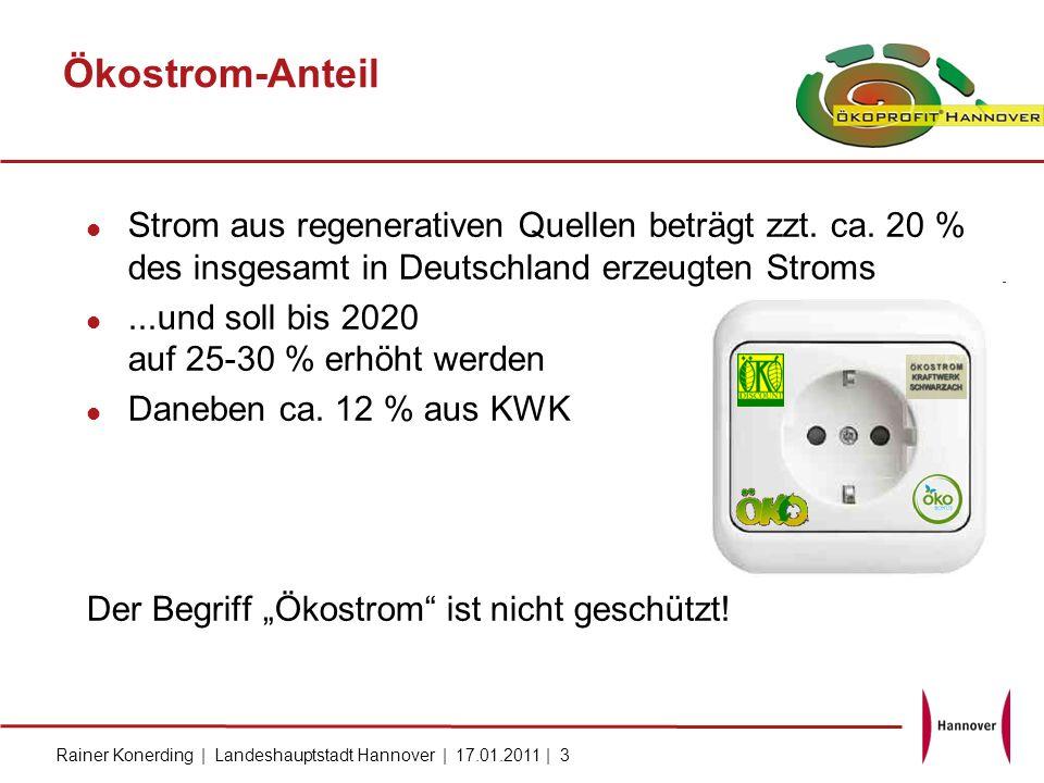Rainer Konerding | Landeshauptstadt Hannover | 17.01.2011 | 3 Ökostrom-Anteil Strom aus regenerativen Quellen beträgt zzt. ca. 20 % des insgesamt in D