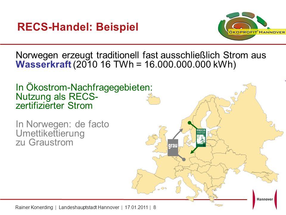 Rainer Konerding   Landeshauptstadt Hannover   17.01.2011   9 RECS- Ziel: EECS GoO European Energy Certificate System Quelle: Europäische und nationale Rechtsetzung Richtlinie 2001/77/EG v.