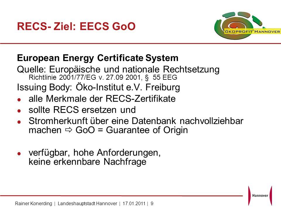 Rainer Konerding | Landeshauptstadt Hannover | 17.01.2011 | 9 RECS- Ziel: EECS GoO European Energy Certificate System Quelle: Europäische und national
