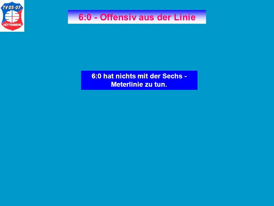 6:0 - Offensiv aus der Linie 6:0 hat nichts mit der Sechs - Meterlinie zu tun.