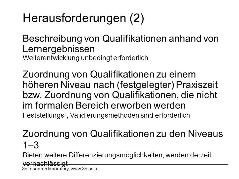 3s research laboratory, www.3s.co.at Herausforderungen (2) Beschreibung von Qualifikationen anhand von Lernergebnissen Weiterentwicklung unbedingt erf