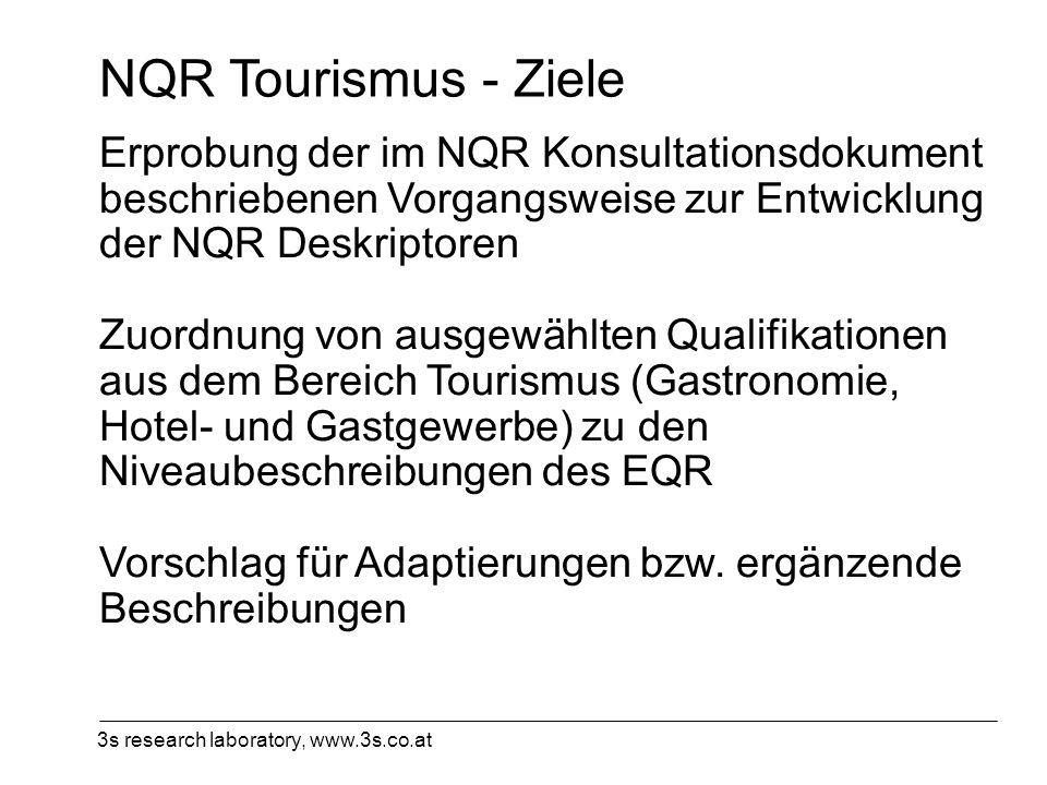 3s research laboratory, www.3s.co.at NQR Tourismus - Ziele Erprobung der im NQR Konsultationsdokument beschriebenen Vorgangsweise zur Entwicklung der
